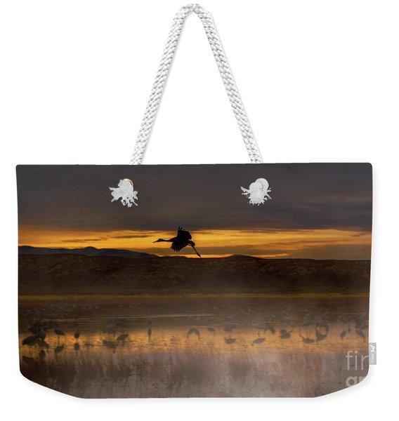 Flying Over Crane Pond Weekender Tote Bag