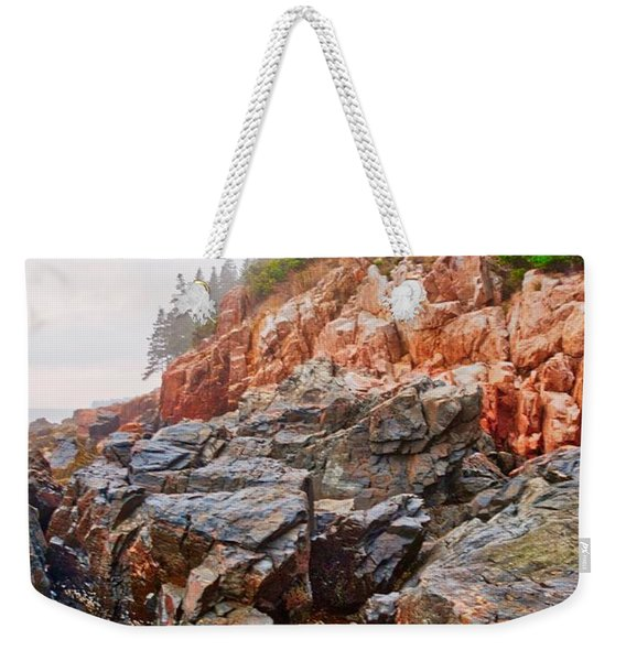 Foggy Bass Harbor Lighthouse Weekender Tote Bag