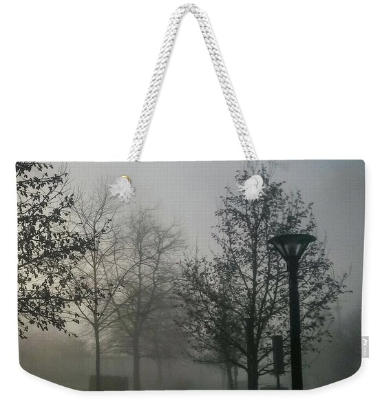 Weekender Tote Bag featuring the photograph Foggy Street by Juan Contreras