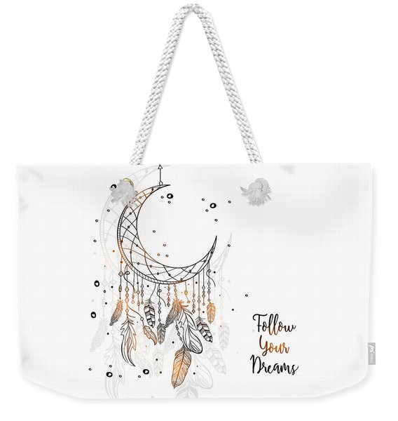 Follow Your Dreamcatcher - Boho Chic Ethnic Nursery Art Poster Print Weekender Tote Bag