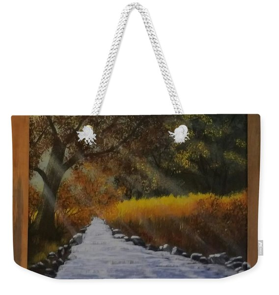 Forest Sunrays Over Water Weekender Tote Bag