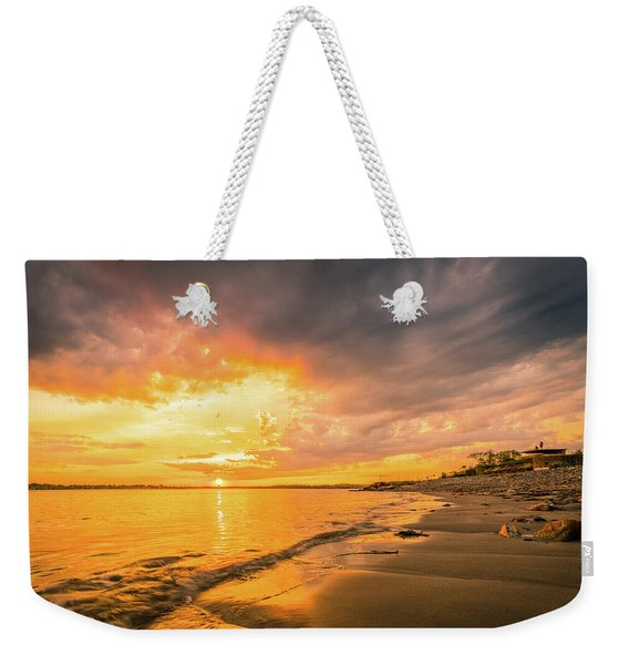 Weekender Tote Bag featuring the photograph Fort Foster Sunset Watchers Club by Jeff Sinon