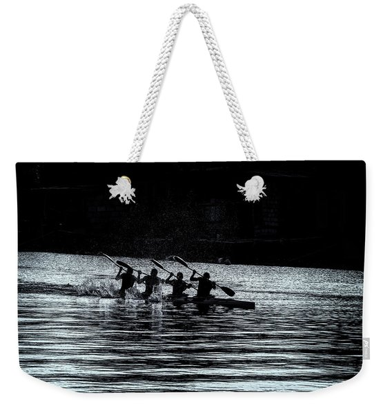 Weekender Tote Bag featuring the photograph Four Rowers by Tom Singleton