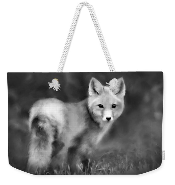 Fox Portrait Black And White Weekender Tote Bag