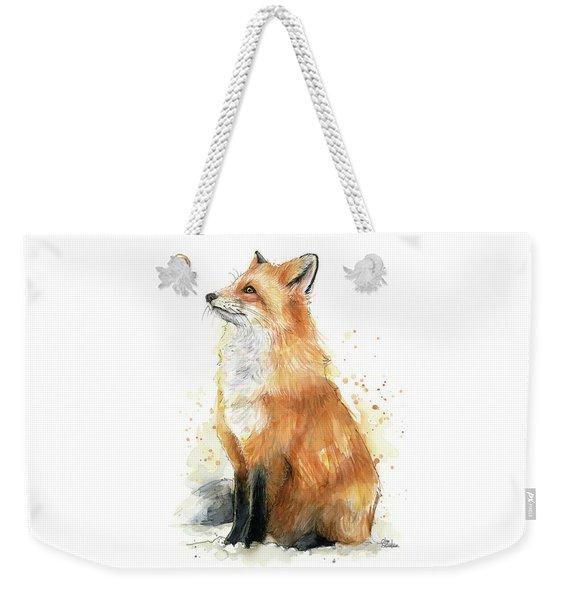 Fox Watercolor Weekender Tote Bag