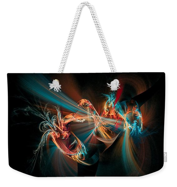 Weekender Tote Bag featuring the digital art Fractal Spawn Blue by Don Northup