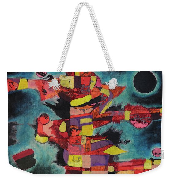 Weekender Tote Bag featuring the painting Fractured Fire by Mark Jordan