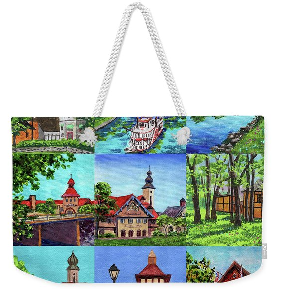 Frankenmuth Downtown Michigan Painting Collage IIi Weekender Tote Bag