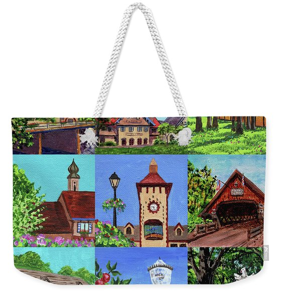 Frankenmuth Downtown Michigan Painting Collage Iv Weekender Tote Bag