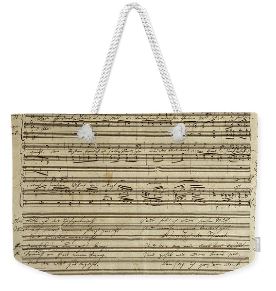 Franz Schubert, Manuscript Of The Songs, The Carpenter's Song Weekender Tote Bag