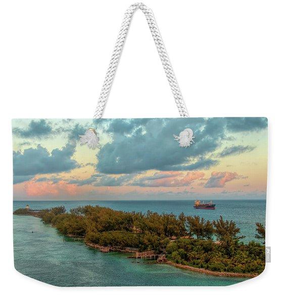Freighter Off Paradise Island Weekender Tote Bag