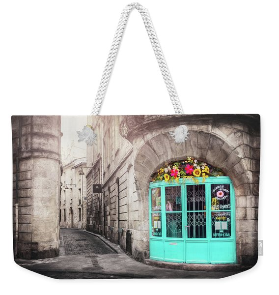 French Cafe With Blue Doors Bordeaux France  Weekender Tote Bag