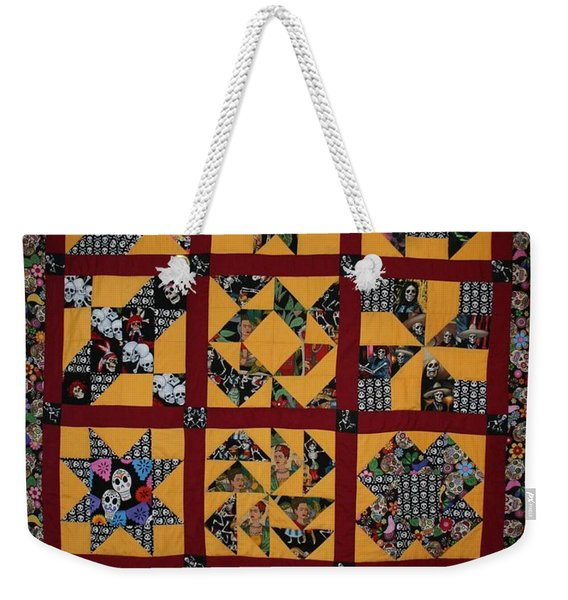 Weekender Tote Bag featuring the tapestry - textile Frida Quilt by Cynthia Marcopulos