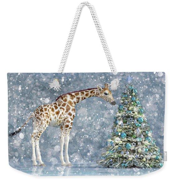 Friendly Giraffe Holidays Weekender Tote Bag
