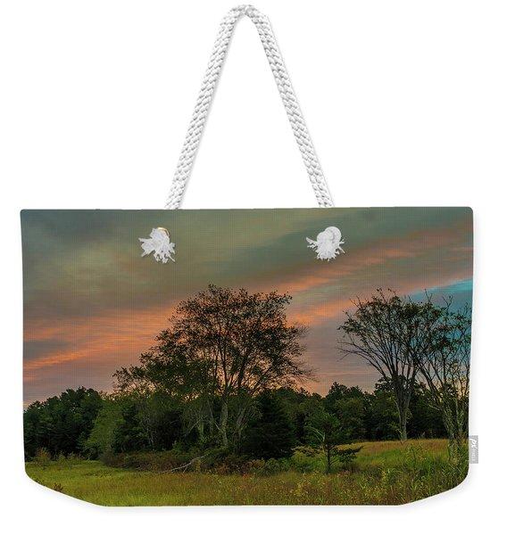 Pine Lands In Friendship Sunrise Weekender Tote Bag