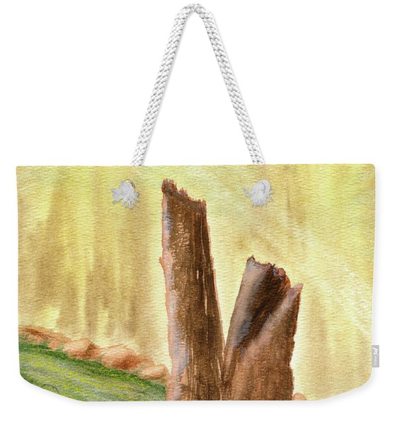 Weekender Tote Bag featuring the painting From Ruins Comes New Life by Rich Stedman