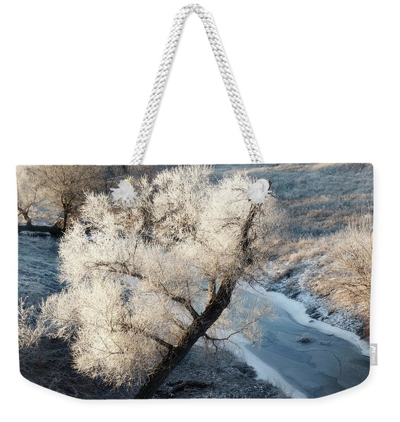 Weekender Tote Bag featuring the photograph Frosted Tree And Creek 01 by Rob Graham