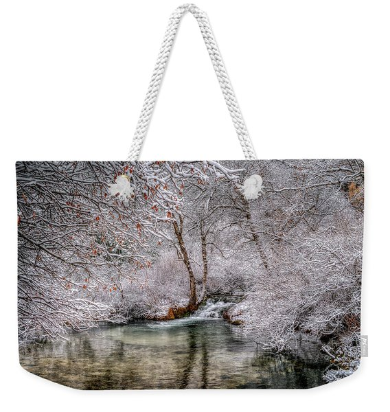 Frosty Pond Weekender Tote Bag