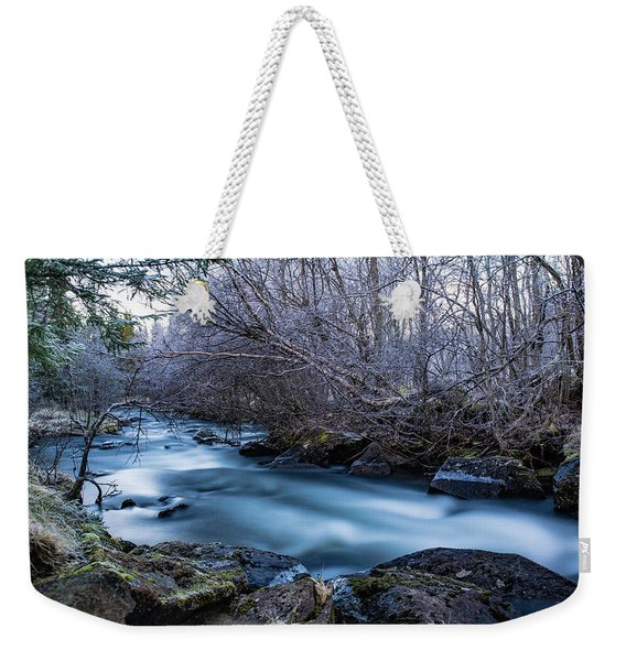 Frozen River Surrounded With Trees Weekender Tote Bag