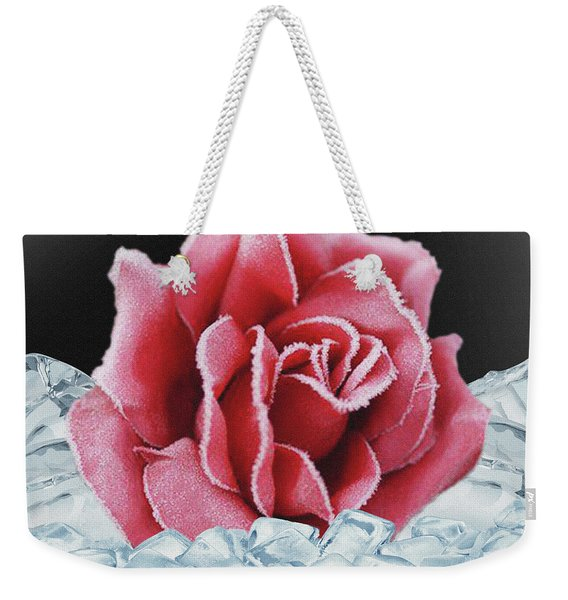 Frozen Rose Weekender Tote Bag