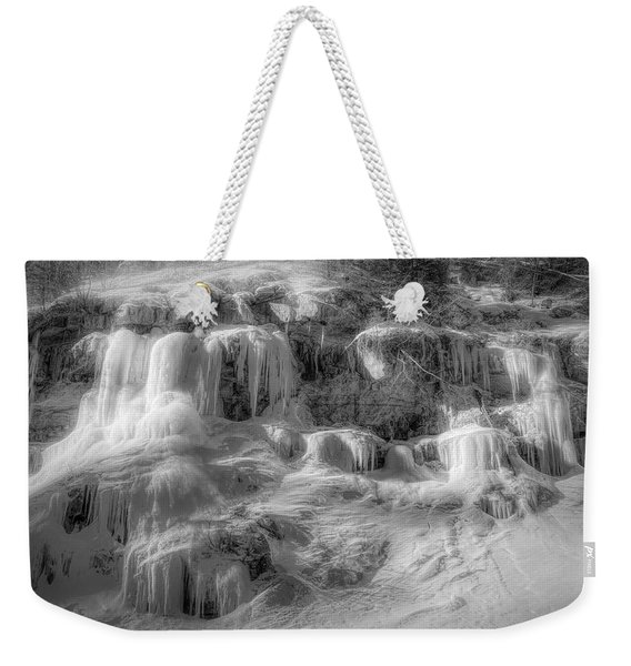 Frozen Snowmelt B And W Weekender Tote Bag