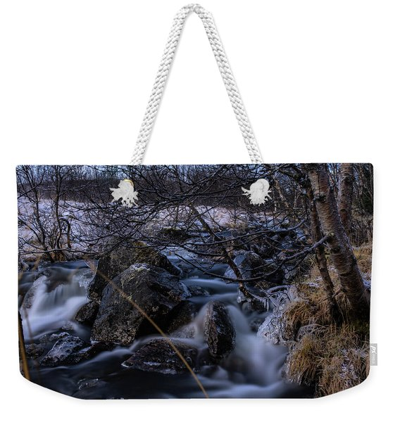 Frozen Stream In Winter Forest Weekender Tote Bag