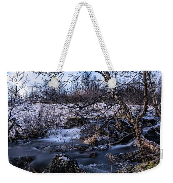 Frozen Tree In Winter River Weekender Tote Bag