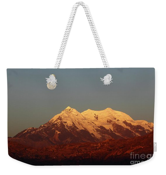 Full Moon Rise Over Mt Illimani Weekender Tote Bag