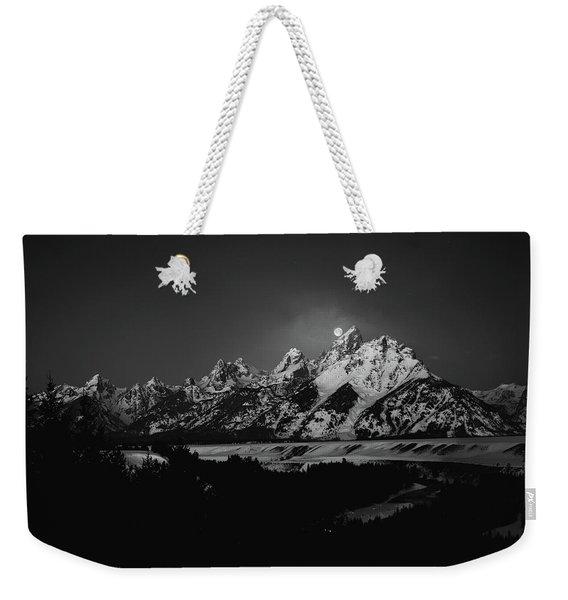 Full Moon Sets In The Tetons Weekender Tote Bag