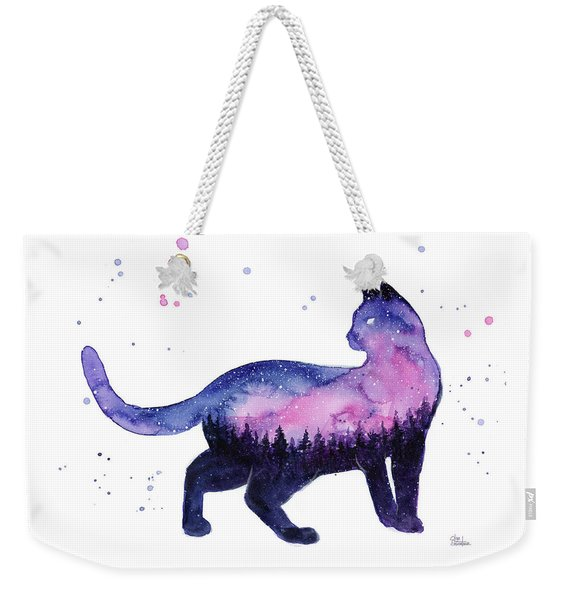 Galaxy Forest Cat Weekender Tote Bag