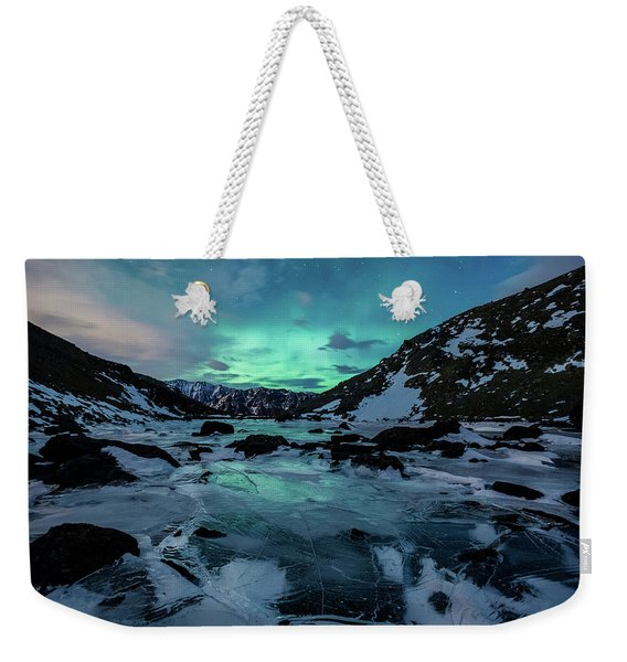 Weekender Tote Bag featuring the photograph Gale-force Aurora H by Tim Newton