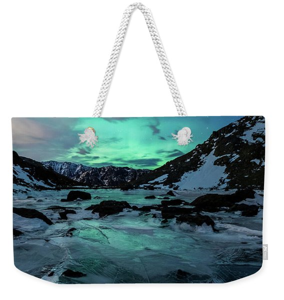 Weekender Tote Bag featuring the photograph Gale-force Aurora V by Tim Newton