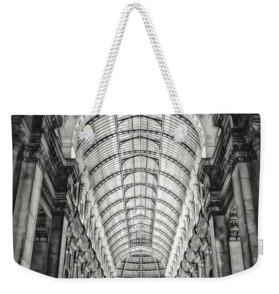 Galleria Vittorio Emanuele II Milan Italy By Night Black And White Weekender Tote Bag