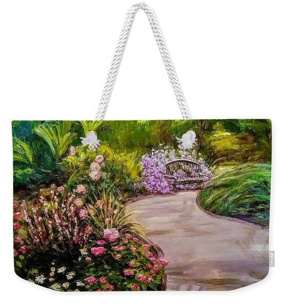 Path To The Garden Bench At Evergreen Arboretum Weekender Tote Bag