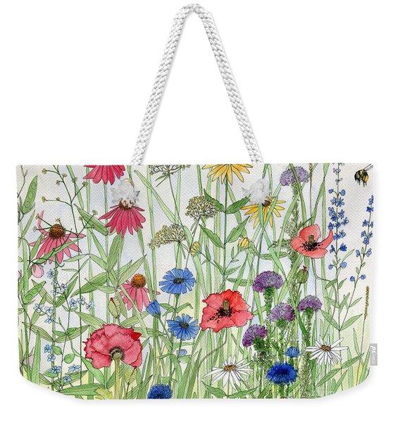 Garden Flower Medley Watercolor Weekender Tote Bag