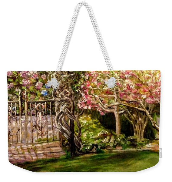 Garden Gate At Evergreen Arboretum Weekender Tote Bag