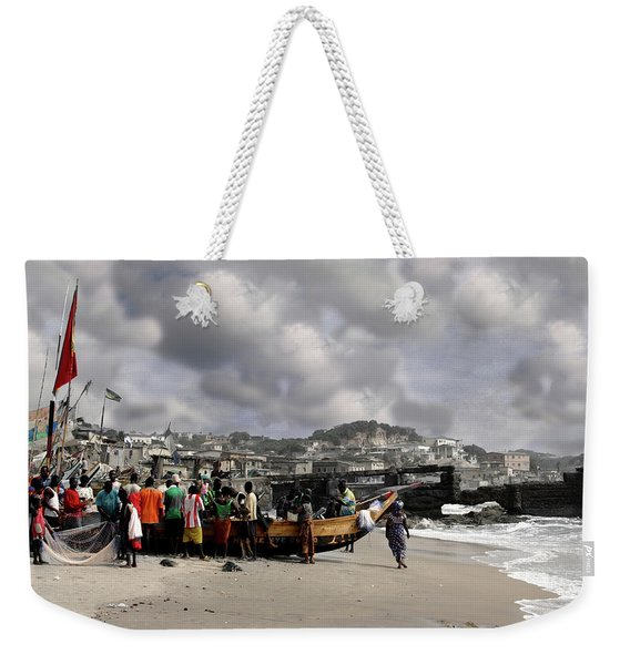 Weekender Tote Bag featuring the photograph Gathering Around The Boat Cape Coast Ghana by Wayne King