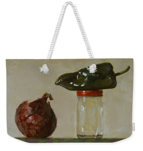 Balancing Act, Green Pepper And Red Onion Weekender Tote Bag