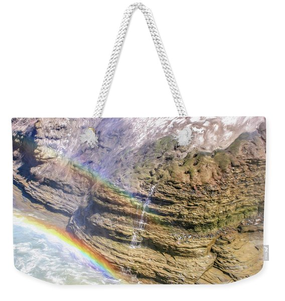 Genesee River With Rocks And Rainbow Weekender Tote Bag