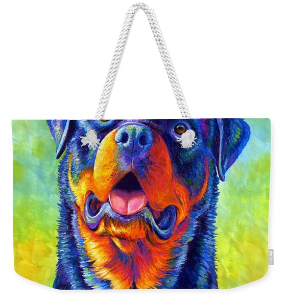 Gentle Guardian Colorful Rottweiler Dog Weekender Tote Bag