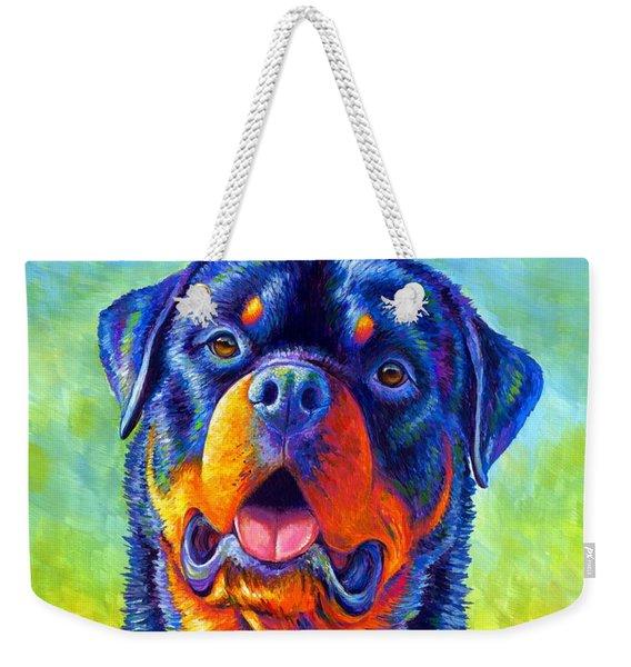 Gentle Guardian Colorful Rottweiler Dog Weekender Tote Bag