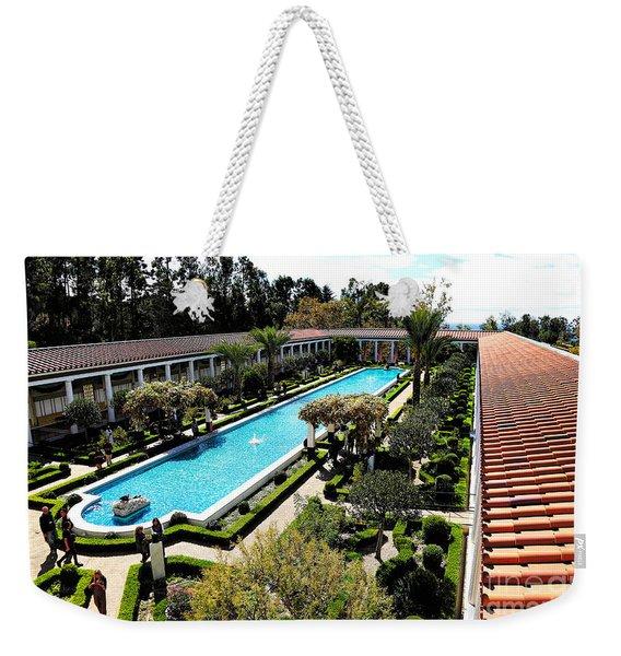 Getty Pano Courtyard Museum Villa Malibu Santa Monica  Weekender Tote Bag