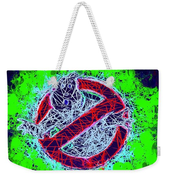 Weekender Tote Bag featuring the mixed media Ghostbusters Logo by Al Matra