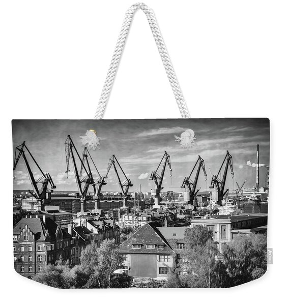 Giant Cranes Of Gdansk Shipyard Poland Black And White Weekender Tote Bag