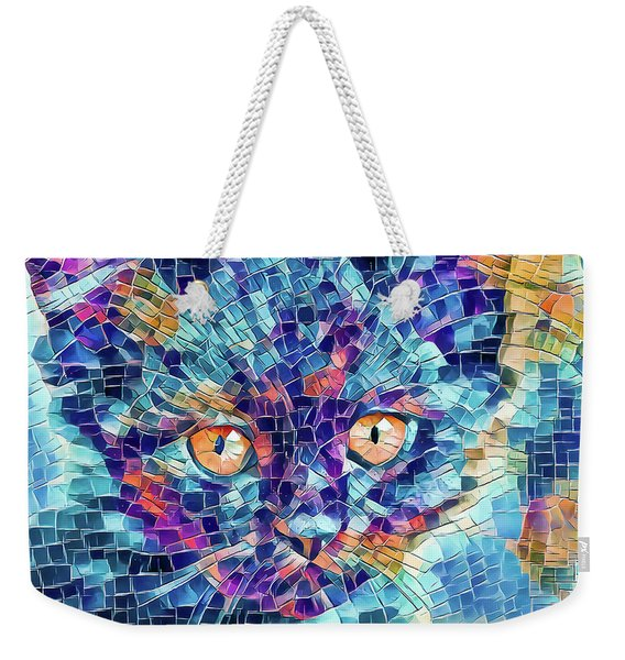 Weekender Tote Bag featuring the digital art Giant Head Mosaic Colorful by Don Northup