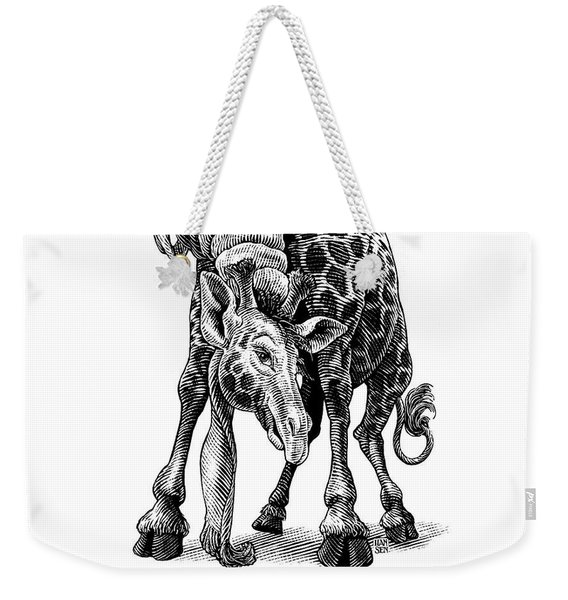 Weekender Tote Bag featuring the drawing Giraffe by Clint Hansen