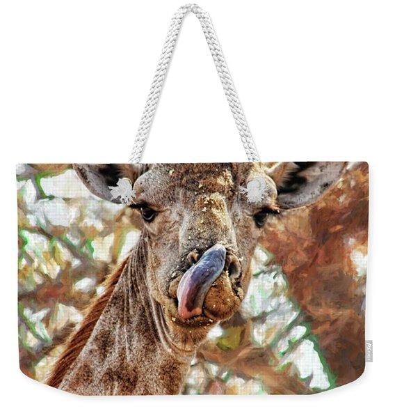 Giraffe Says Yum Weekender Tote Bag