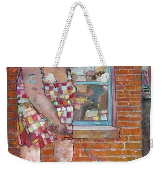 Girl With Little Dog Weekender Tote Bag