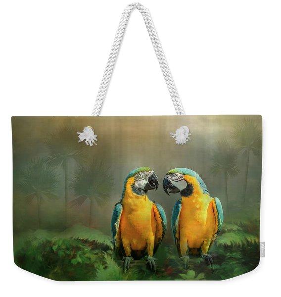 Gold And Blue Macaw Pair Weekender Tote Bag