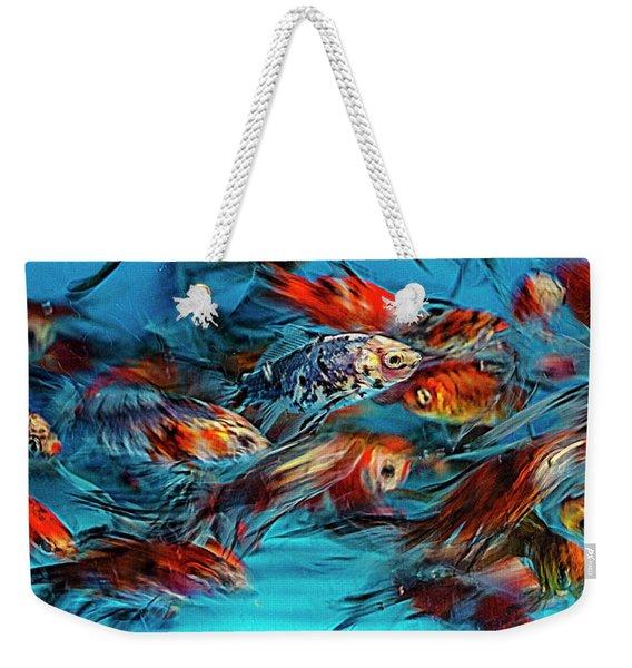 Gold Fish Abstract Weekender Tote Bag